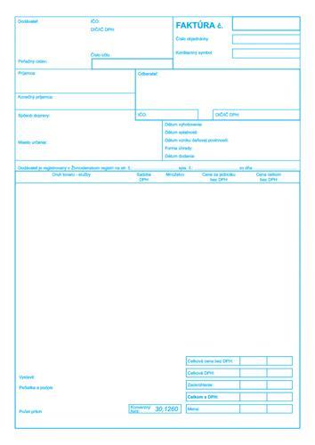 020 Faktúra A4 Samoprepis účtovné Tlačivá Kancelárske Potreby