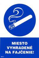 3985 0 S Miesto vyhradené na fajčenie ! A5 samolepka