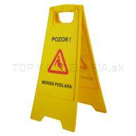 """Výstražná žltá tabuľa, """" POZOR MOKRÁ PODLAHA """""""