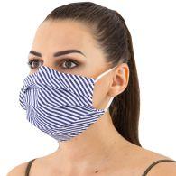Textilne rúško dvojvrstvov prúžkovaný vzor tm. modrá, certifikované