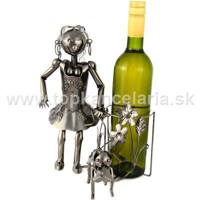 99271 Kovový stojan na víno, motív dievča so psom