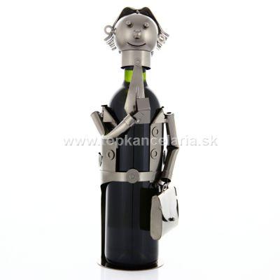 97006 Kovový stojan na víno, motív manažér - poradca