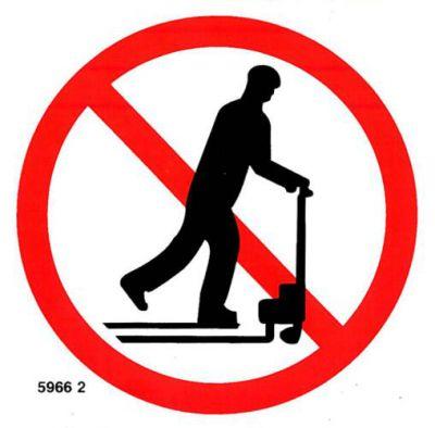 5966 2 S Zákaz jazdy na paletových vozíkoch ! picto.10x10cm samolepka