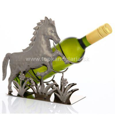 98757 Kovový stojan na víno, motív kôň